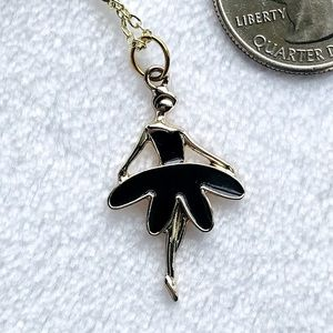 Ballerina in Black 10k Gold Plated Necklac…